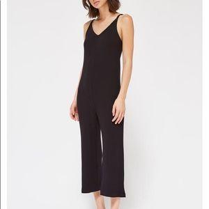 LACAUSA Naomi Knit Jumpsuit Black Ribbed Large